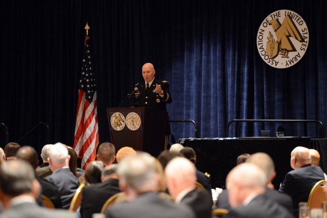 Gen. Robert Cone, commanding general of the Army Training and Doctrine Command, speaks to Army civilians, at a luncheon during the 2013 Association of the United States Army Annual Meeting and Exposition, in Washington, D.C., Oct. 23, 2013