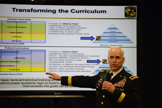 "Maj. Gen. Jefforey Smith, commander of the U.S. Army Cadet Command, explains changes for the ROTC program during a ""Warriors Corner"" presentation at the 2013 Association of the United States Army Annual Meeting and Exposition, Oct. 22, 2013, at the Washington (D.C.) Convention Center."