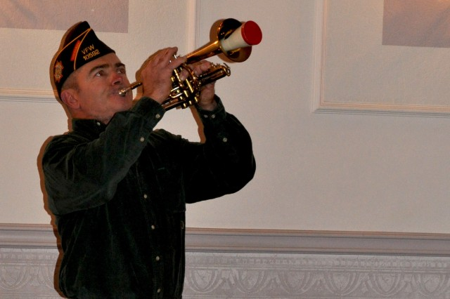 Veterans of Foreign Wars member William Yurek plays the trumpet during a USAG Bamberg event.