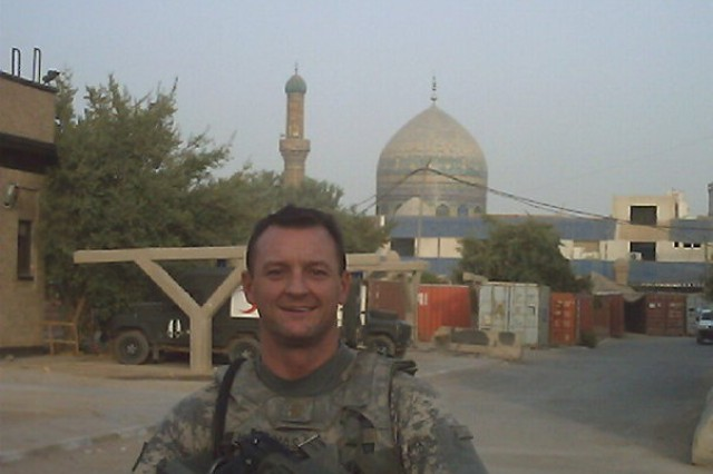 Maj. Michael G. Meskunas serves as the G-2 operations officer for the U.S. Army Space and Missile Defense Command/Army Forces Strategic Command. Here he is after a combat patrol in Baghdad, Iraq, in 2007.