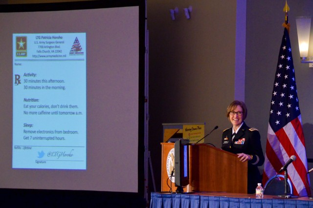 Lt. Gen. Patricia Horoho, Army Surgeon General, gives her prescription for health at the Family Forum II, which was part of the 2013 Association of the U.S. Army Annual Meeting and Exposition, held in Washington, D.C., Oct. 21-23, 2013.