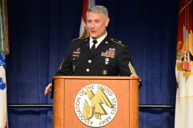 Sgt. Maj. of the Army Raymond F. Chandler III speaks at the Sergeant Major of the Army Recognition Luncheon at the Association of the United States Army Annual Meeting and Exposition, in Washington, D.C., Oct. 21, 2013.