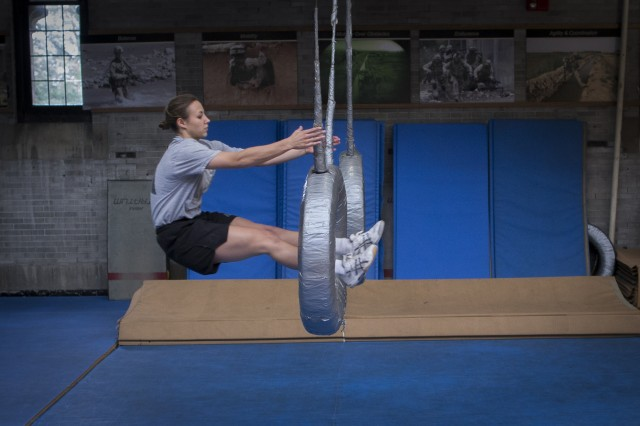 Class of 2017 Cadet Madaline Kenyon, at 2 minutes and 26 seconds, set the new female record on the Indoor Obstacle Course Test -- a mark that had been held for more than 20 years by Class of 1989's Tanya Cheek.