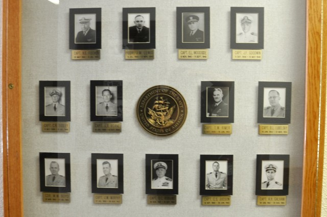 Past Navy commanders are represented on the wall as well.