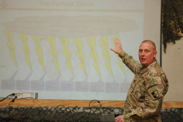 Lt. Col. Derek G. Bean, a native of Charleston, S.C., and commander of the 101st Special Troops Battalion, 101st Sustainment Brigade, 101st Airborne Division (Air Assault), briefs postal professionals from across Afghanistan, during the 2013 Theater Postal Conference hosted by Task Force Lifeliner, Oct. 19, 2013, at Bagram Air Field, Parwan province, Afghanistan. This conference gives the postal workers the opportunity to address postal operations, finances, planning or issues that can affect daily operations. www.facebook.com/lifeliner (U.S. Army photo by Sgt. Sinthia Rosario, Task Force Lifeliner Public Affairs)