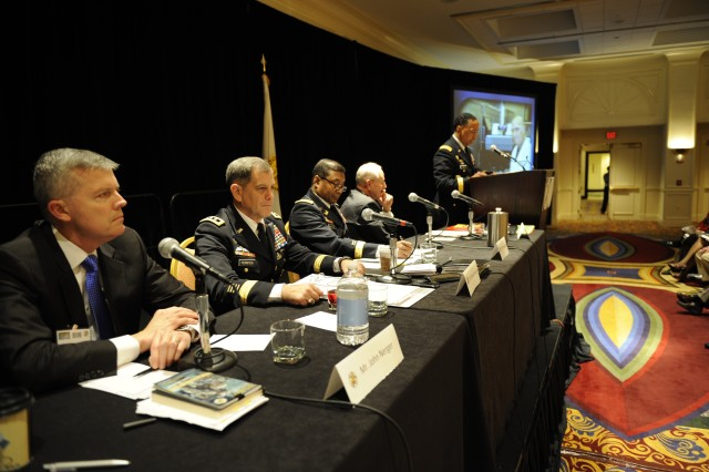 Gen. Dennis L. Via, Army Materiel Command's Commanding General, makes opening comments at the 2013 AUSA Civilian Professional Development Seminar.