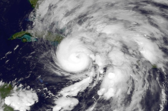 Hurricane Sandy takes aim at Cuba, Oct 25, 2012, a few days before plowing into the U.S.