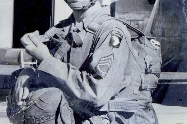 """Sergeant 1st Class Dayton Herrington graduted from Airborne School at Fort Campbell in the fall of 1956. """"I volunteered to go Airborne,"""" said Herrington. """"I had always wanted to be a paratrooper, ever since I was a small boy. My brother was a paratrooper and I wanted to be just like him, so here I came to Fort Campbell on Aug. 21, 1956."""""""
