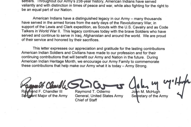 2013 National American Indian Heritage Month tri-signed letter