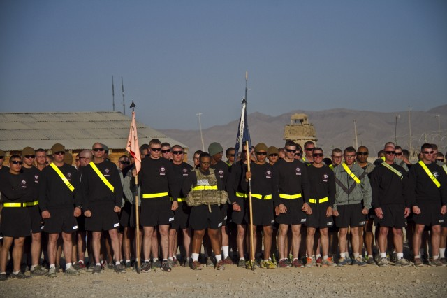 "PAKTYA PROVINCE, Afghanistan "" U.S. Army Soldiers with 1st Battalion, 506th Infantry Regiment, 4th Brigade Combat Team, 101st Airborne Division (Air Assault), stand ready at the start line in eager anticipation of conducting a Run for the Fallen, at Forward Operating Base Gardez, Oct. 26, 2013. (U.S. Army photo by Sgt. Justin A. Moeller, 4th Brigade Combat Team Public Affairs)"