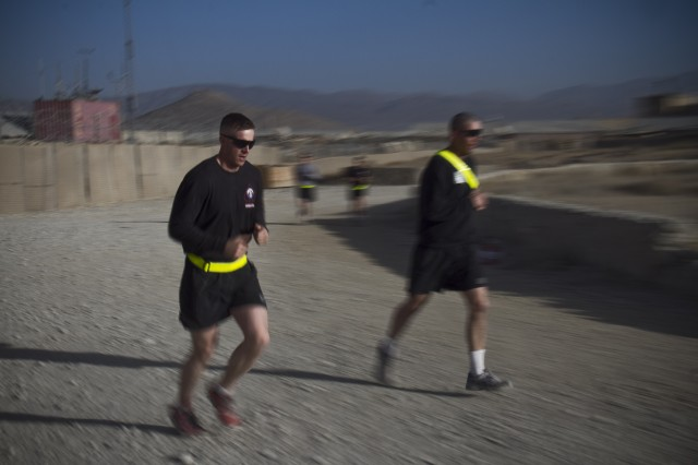 "PAKTYA PROVINCE, Afghanistan "" U.S. Army Soldiers with 1st Battalion, 506th Infantry Regiment, 4th Brigade Combat Team, 101st Airborne Division (Air Assault), conduct a Run for the Fallen, at Forward Operating Base Gardez, Oct. 26, 2013. (U.S. Army photo by Sgt. Justin A. Moeller, 4th Brigade Combat Team Public Affairs)"