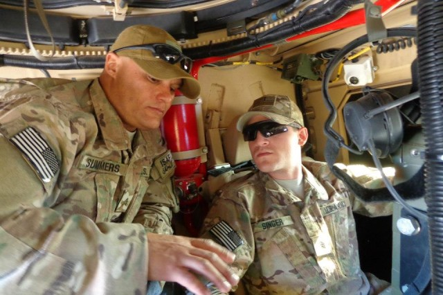 fb634dd7 Staff Sgt. Robert Summers instructs Sgt. Kevin Singer on CROWS operation.