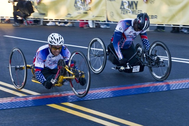 Wounded Warriors reach the finish line during the Army Ten-Miler held at the Pentagon, Oct 20, 2013.