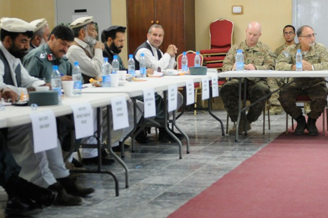 "NANGARHAR PROVINCE, Afghanistan "" The leaders of 2nd Battalion, 4th Infantry Regiment, along with a representative from the U.S. State Department and members of the U.S. Agency for International Development, met with leaders from Eastern Nangarhar Province at Forward Operating Base Fenty Oct. 28, 2013, to discuss matters of security and development inside the province. 2nd Battalion is a part of 4th Brigade Combat Team, 10th Mountain Division, Task Force Patriot. (U.S. Army Photo by Sgt. Eric Provost, Task Force Patriot PAO)"