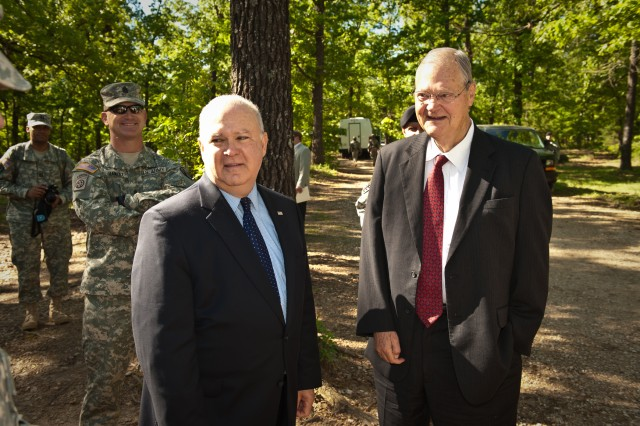 Congressman Ike Skelton (right) and Under Secretary of the Army Joseph W. Westphal (left) visit Fort Leonard Wood, Missouri, May 6, 2010. The leaders met with Soldiers in Initial Entry Training and observed them during various training exercises. Skelton and Westphal observed first-hand how Fort Leonard Wood is modifying their program of instruction to better prepare Soldiers for future Army requirements. Photo Credit: Fort Leonard Wood Public Affairs