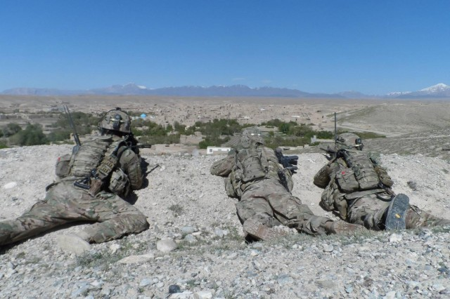 U.S. Army soldiers from Company B, 3rd Battalion, 7th Infantry Regiment, 4th Infantry Brigade Combat Team, 3rd Infantry Division, provide security for a dismounted patrol in Logar province, Afghanistan, Aug. 25, 2013. U.S. Forces stayed committed to the security and prosperous future of Afghanistan as they supported Afghan security forces during their tour in eastern Afghanistan. (Courtesy Photo)
