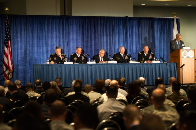(From left to Right) Sgt. Maj. of the Army, Raymond F. Chandler III, Lt. Gen. Robert B. Brown, retired Gen. Frederick M. Franks, Jr., Gen. Robert W. Cone and Gen. William S Wallace, provide opening remarks at the Walter E. Washington Convention Center, Washington, D.C., on October 22, 2013. They are speaking about The Future of Army Leader Development at the 2013 Association of the United States Army Exposition.(U.S. Army Photo by Sgt. Mikki L. Sprenkle/Released)