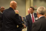 Army Chief of Staff Gen. Raymond T. Odierno shakes hands with the Governor of North Carolina Hon. Pat McCrory