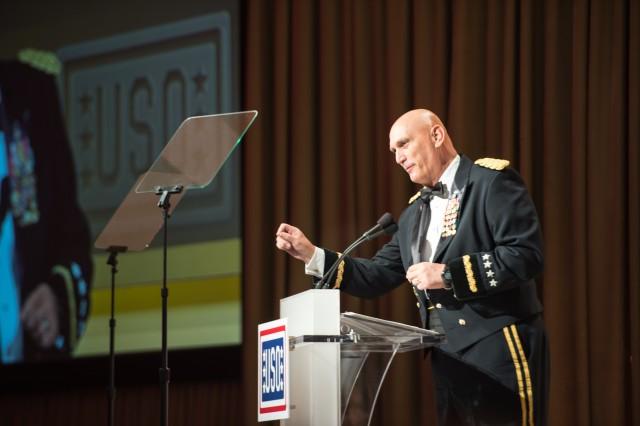 U.S. Army Chief of Staff, Gen. Raymond T. Odierno gives his remarks before awarding the USO Soldier of the year during the 2013 USO Gala on October 25, 2013 at the Washington Hilton, Washington, D.C. (.U.S. Army Photo by Sgt. Mikki L. Sprenkle/Released)