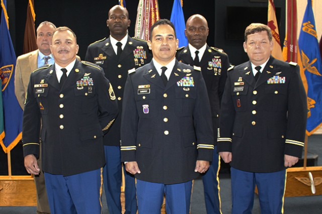 Six of the retirees honored Oct. 25 at Fort Rucker's quarterly retirement ceremony: (back) Kenneth M. Newsom, 1st Sgt. Robert E. Carter Jr., Sgt. 1st Class Telroy F. Grant, (front) Sgt. 1st Class Rolando L. Correa, CW3 James D. Sanchez and CW4 Damian D. Balthaser.