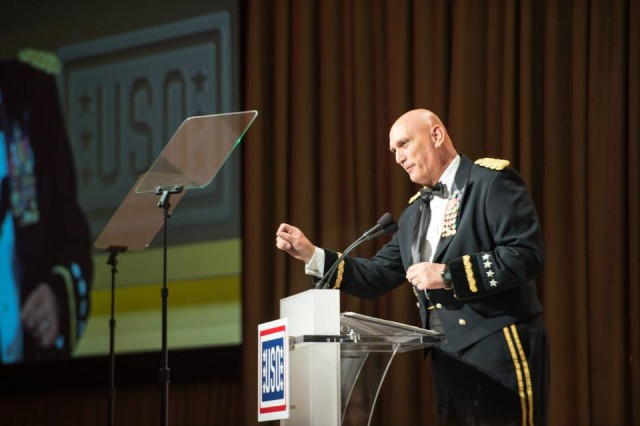 U.S. Army Chief of Staff, Gen. Ray Odierno gives his remarks before awarding the USO Soldier of the year during the 2013 USO Gala on October 25, 2013 at the Washington Hilton, Washington, D.C.