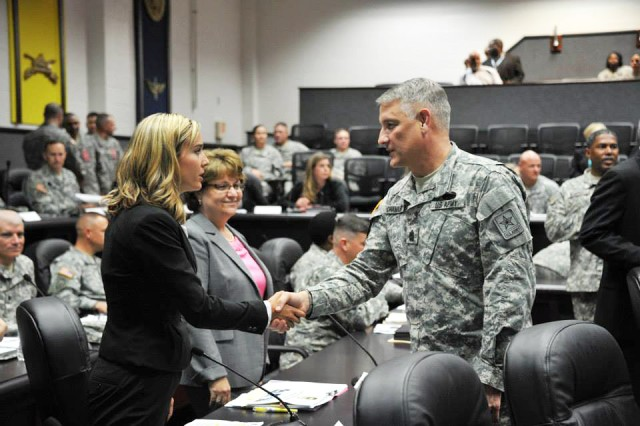 Fort Sill, Okla., civilian leaders, critical links in the support chain of readiness and resiliency for the Army, meet with Sgt. Maj. of the Army Raymond Chandler III before a briefing about Fort Sill's efforts to boost readiness and resiliency for Soldiers, their families and Army civilians.