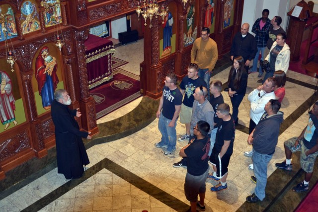 Soldiers assigned to the 1st Battalion, 41st Field Artillery Regiment, 1st Armored Brigade Combat Team, Third Infantry Division, visit Saint Paul's Greek Orthodox Church, located in Savannah, Ga., as part of a historic church tour, which took place Oct. 23