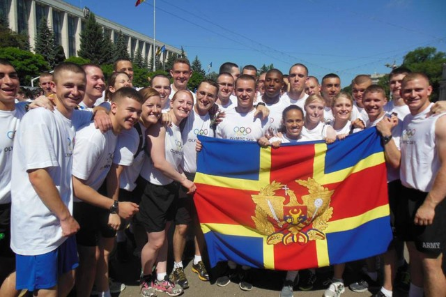 Army ROTC students from the United States take a quick moment to celebrate during the Army Cadet Command's ROTC Cultural Understanding and Language Program to Moldova. The program is one of many ways the North Carolina National Guard seeks to partner with Moldova, which is the organization's State Partnership Program partner. It was the first time the program was utilized. The program included four cadre and 29 ROTC students, and immersed the cadets into the Moldovan culture and language over a three-week period.