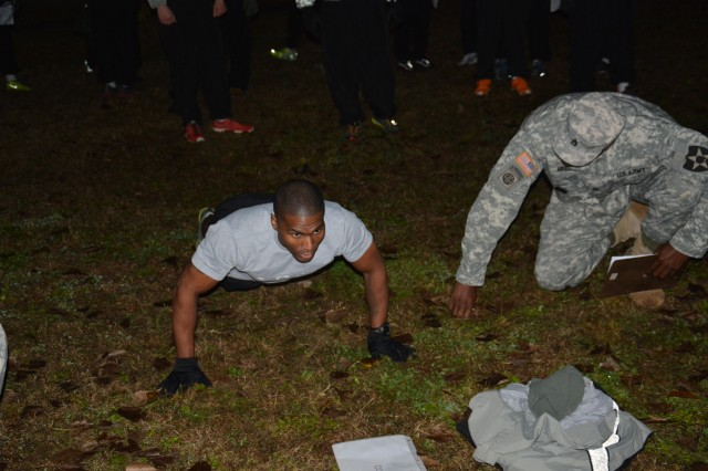 Soldiers from the 210th Fires Brigade, 2nd Infantry Division competed in the first ever Thunder Fitness Challenge Oct. 30, 2013 on Camp Casey. Of the 104 Soldiers who competed, only 14 Soldiers achieved the standard of the challenge. To qualify for the competition the Soldiers must have scored 270 or above on the Army Physical Fitness Test prior to the competition. During the event the Soldiers completed five events that tested them both physically and mentally. The fitness challenge included the push-up event for two minutes, the sit-up event for two minutes, the pull-up event for 10 repetitions, the dip event for 20 repetitions, and a three-mile run in 22 minutes or less.