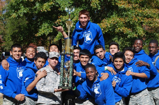 "MOLENA, Ga. "" JROTC Cadets from Campbell High School, Smyrna, Ga., celebrate their first place victory in the overall male division at the U.S. Army National Raider Challenge Championships, here, Nov. 3."
