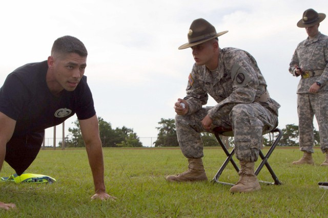 Sgt. 1st Class Ryan McCaffrey completes the push-up event of the Army Physical Fitness test during the Army Reserve Drill Sergeant of the Year competition, held July 15-17 at Fort Jackson, S.C. McCaffrey, who recently re-enlisted in the Reserve after spending 13 years on active duty, took top honors as the Reserve Drill Sergeant of the Year. (U.S. Army photo by Staff Sgt. Andrea Smith)