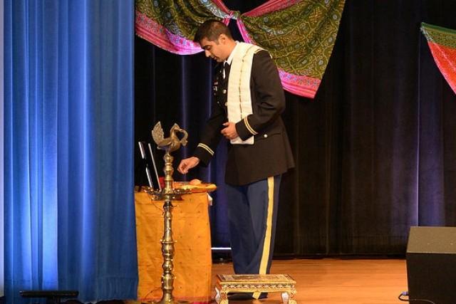 Maj. Anthana Mallia leads a traditional Hindu blessing