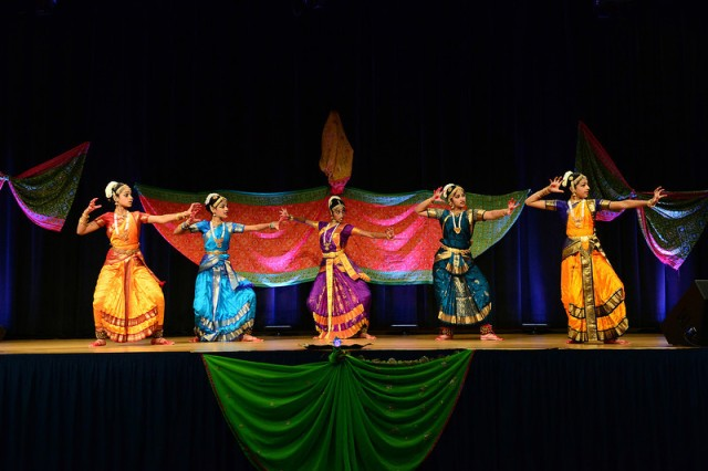 Dancers perform classical South Indian styles of dance at the 2013 Pentagon Diwali celebration.