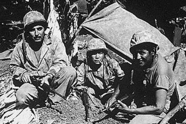 Native American Marines during WWII.  Known as Navajo Code Talkers, they were young Navajo men who transmitted secret communications on the battlefields of WWII. At a time when America's best cryptographers were falling short, these modest sheepherders and farmers were able to fashion the most ingenious and successful code in military history. They drew upon their proud warrior tradition to brave the dense jungles of Guadalcanal and the exposed beachheads of Iwo Jima. Serving with distinction in every major engagement of the Pacific theater from 1942-1945, their unbreakable code played a pivotal role in saving countless lives and hastening the war's end.