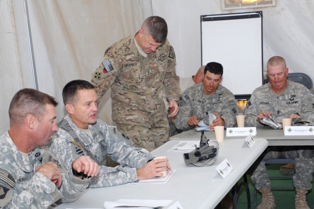 General Daniel Allyn (second from left), commander of United States Army Forces Command, is about to receive a briefing from leadership of the 4th Infantry Brigade Combat Team, 4th Infantry Division, at the National Training Center, Calif., Nov. 4. To the right is Col. Brian Pearl, commander of 4-4 ID, and to left is Brig. Gen. James Rainey, deputy commanding general-maneuver of the 4 ID. The 4-4 ID is conducting Security Force Assistance Brigade training in preparation for a deployment to Afghanistan in support of the Security Force Advise and Assist Team mission.