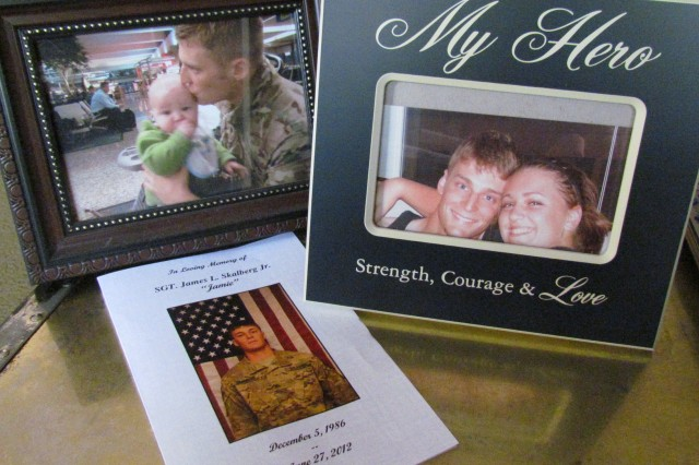 Memories of Jamie Lyn Skalberg can be found throughout his family's home in Good Hope, including a photo of him and his baby son, a photo of him with his sister Spring and his funeral program.