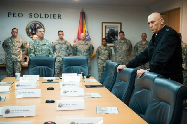 U.S. Army Chief of Staff Gen. Ray Odierno thanks the troops and civilians of the Program Executive Office (PEO) Soldier team for their work and stressed the importance of what they do during his visit to their facility at Fort Belvoir, VA, Nov 1, 2013. (U.S. Army photo by Staff Sgt. Steve Cortez/ Released)