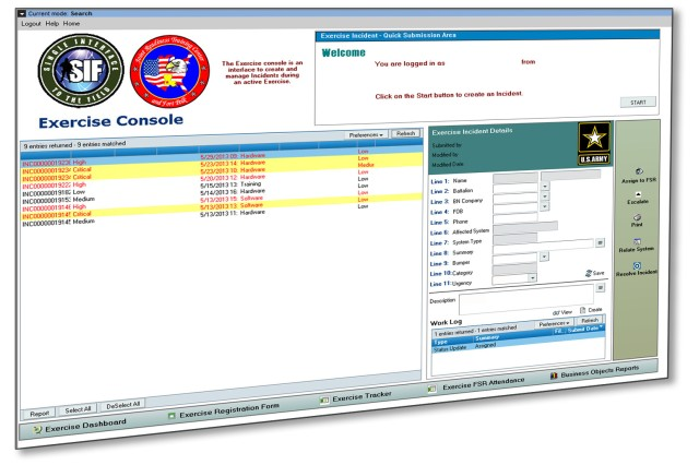 The exercise console of the Single Interface to the Field Incident Reporting  Module provides a quick and effective way for the S6 help desk staff to create and manage support tickets at Brigade and Below echelons.