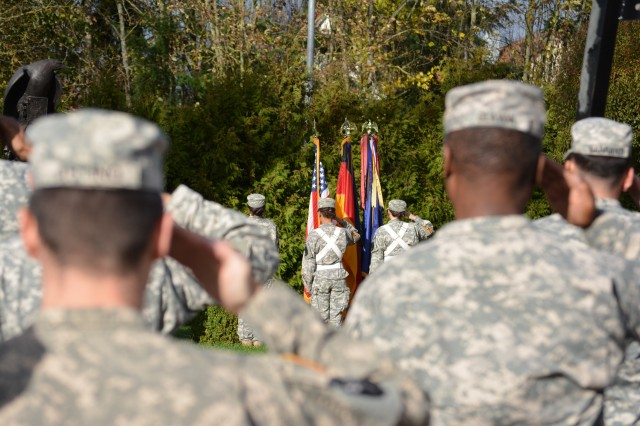 The Ansbach High School Junior Reserve Officer Training Corps posts the colors at the U.S. Army Garrison Ansbach Veterans Day ceremony Nov. 7 at Memorial Garden next to 12th Combat Aviation Brigade headquarters.