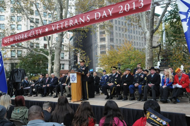 "Retired Army Gen. Ann E. Dunwoody addresses the crowd in Madison Square Park in New York City on Veterans Day.  Dunwoody, the military's first female four-star general, served as the grand marshal for America's Parade, which honored ""Women in Service."""