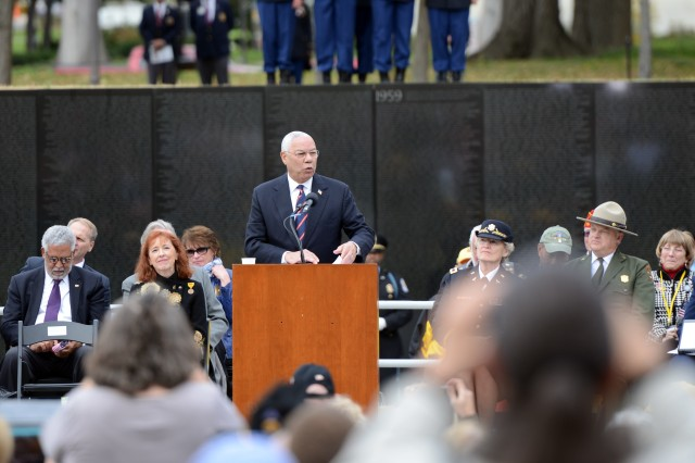 Retired Gen. Colin Powell speaks at a Veterans Day event at the Vietnam Veterans Memorial Wall, Washington, D.C., Nov. 11, 2013.