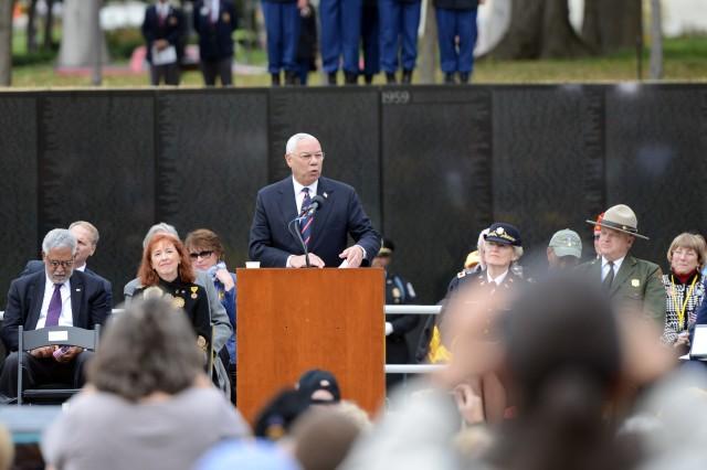 Retired Gen. Colin Powell speaks at a Veterans Day event at the Vietnam Veterans Memorial Wall, Washington, D.C., Nov. 11, 2013.