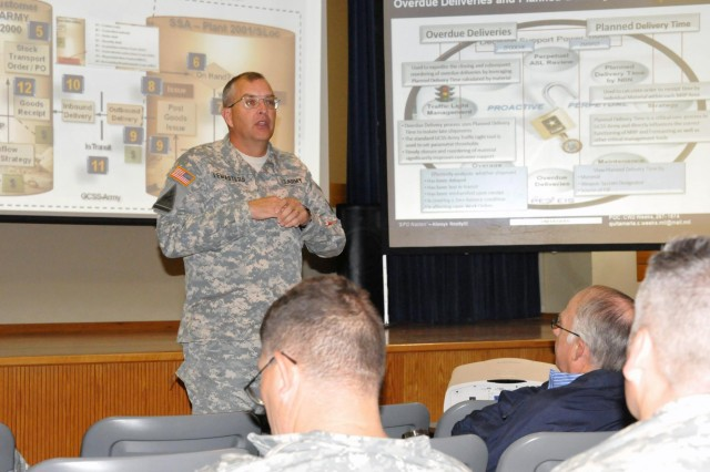 Brig. Gen. Clark W. LeMasters Jr., the commander of the 13th Sustainment Command (Expeditionary), calls on the audience not to be bashful and ask all of their questions about the Global Combat Support System-Army implementation at Fort Hood during a Rehearsal of Concept Drill at Fort Hood's Mission Command Training Center, Oct. 17.