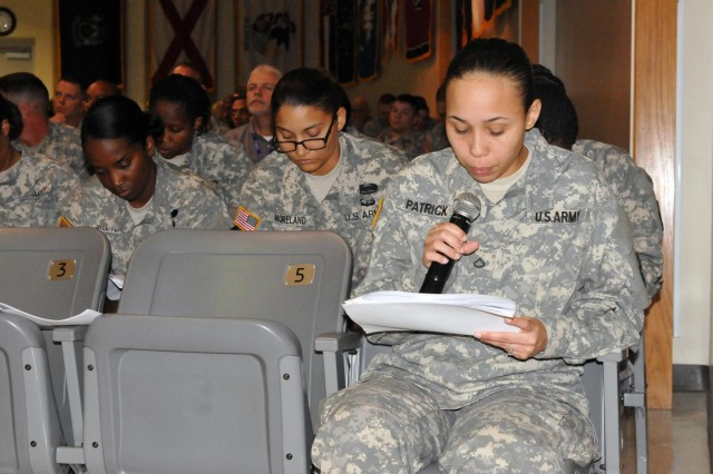 Pfc. Shaunja Patrick, a wheeled vehicle mechanic from 509th Brigade Support Company, 504th Battlefield Surveillance Brigade, reads her part of a parts order vignette during a Rehearsal of Concept (ROC) Drill conducted about the Fort Hood Wave 1 Global Support System-Army conversion at the Mission Command Training Center, Oct 17. Organizers invited system operators from units who have received some training on the new system, illustrating the step by step process of a parts order, for example.
