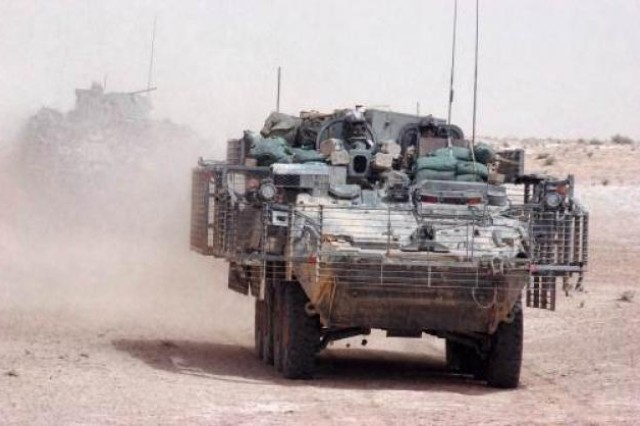 Double-V hull Stryker vehicles began arriving in Afghanistan in the summer of 2011.