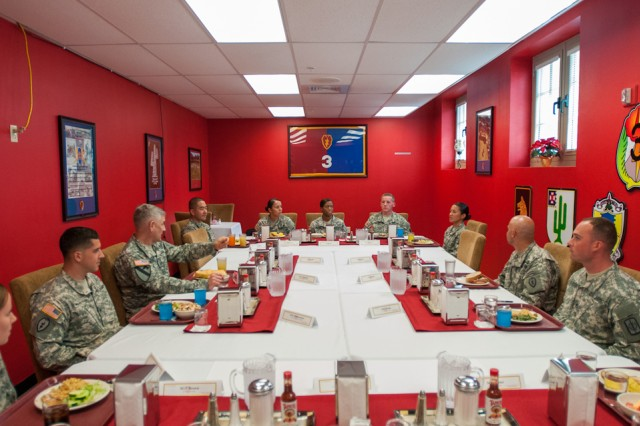 Sgt. Maj.  of the Army Raymond F. Chandler III has lunch with Soldiers from across units at Schofield Barracks, Hawaii, during a visit to the installation on Nov. 5, 2013. Chandler met with Soldiers to discuss professionalism in the Army, and how it can help address suicide rates and sexual assault within our Army. Soldiers were given the opportunity to discuss concerns over troop drawdown and budget cuts.