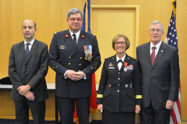 (From left to right) Frederic Dore, deputy chief of mission, Embassy of France; French Deputy Surgeon General Patrick Godart; Lt. Gen. Patricia Horoho, U.S. Army surgeon general; and Ray Horoho, spouse of Gen. Horoho.