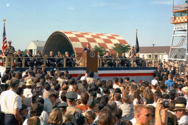 President John F. Kennedy addresses a crowd gathered at Redstone Army Airfield May 18, 1963. This was the second of the president's two visits to Redstone Arsenal.