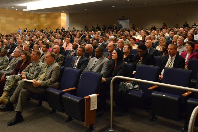 Workforce from Aberdeen Proving Ground attend a joint town hall about the Materiel Enterprise, hosted by Gen. Dennis L. Via, commanding general, U.S. Army Materiel Command, and Hon. Heidi Shyu, Assistant Secretary of the Army for Acquisition, Logistics and Technology, Nov. 5.