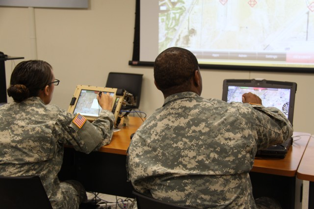 Soldiers with the 3rd Armored Brigade Combat Team, 3rd Infantry Division, evaluate upgrades to the Army's next-generation, situational awareness capability Joint Battle Command-Platform during a user jury at Fort Benning, Ga. The system is expected to be fielded later this fiscal year.